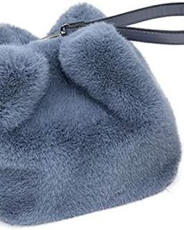 Blue Faux Fur Bucket Bag