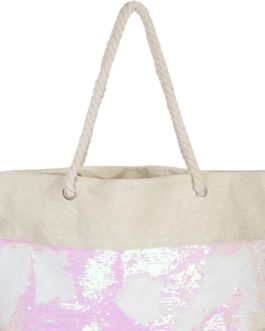Beach Bag Reversible Sequins Beige / Rose White