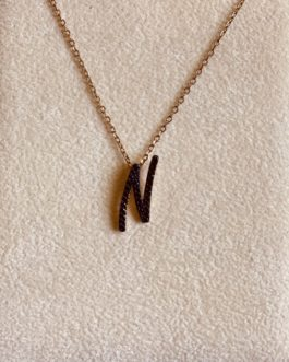 925 Silver Initial Necklace Rose Gold Plated